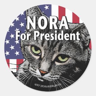 Nora para el presidente #7 pegatina redonda