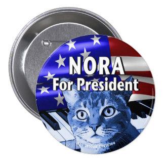 Nora para presidente Button In Blue #3 Chapa Redonda De 7 Cm