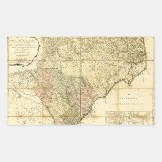 Norte y mapa de Carolina del Sur (1775) Pegatina Rectangular