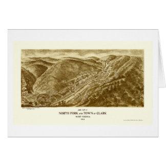 North Fork y Clark mapa panorámico de WV - 1911 Tarjetas