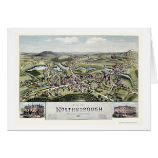 Northborough, mapa panorámico del mA - 1887 Tarjeta De Felicitación