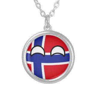 Noruega Geeky que tiende divertida Countryball Collar Plateado