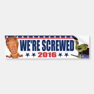 Nos atornillan - bruja anti de Hillary del diablo Pegatina Para Coche