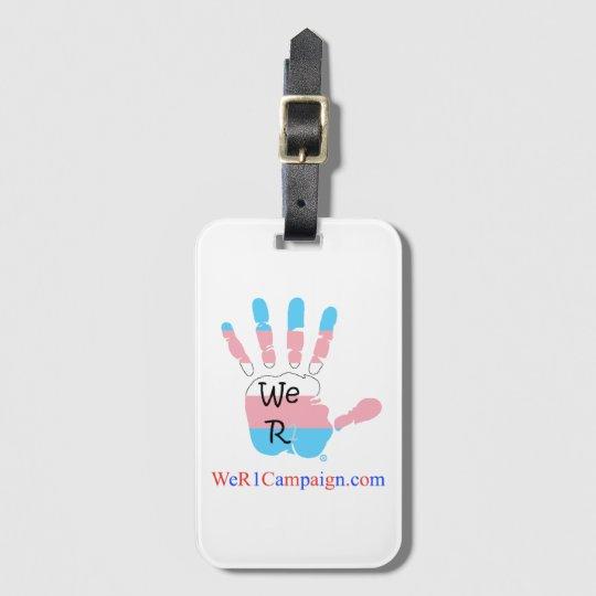 Nosotros etiqueta del bulto de mano del transexual