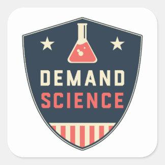 Nosotros la ciencia de la demanda de la gente en pegatina cuadrada