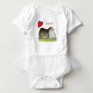 nosotros perros pastor de Shetland del luv de Tony Body Para Bebé