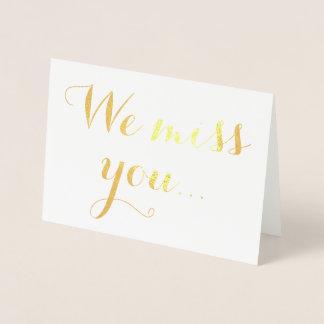 Nosotros tipografía elegante del efecto metalizado tarjeta con relieve metalizado