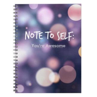 Nota al diario de la inspiración del uno mismo cuadernos