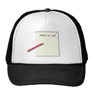 Nota al papel y al lápiz del uno mismo gorros bordados