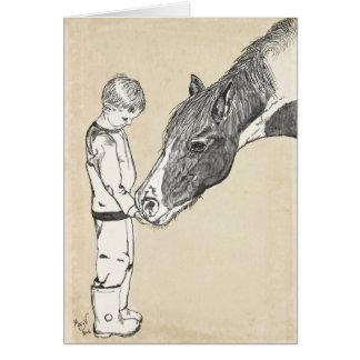 Nota apacible de la conversación del muchacho y tarjeta pequeña