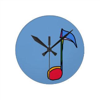 nota colorida gráfica de la música relojes de pared