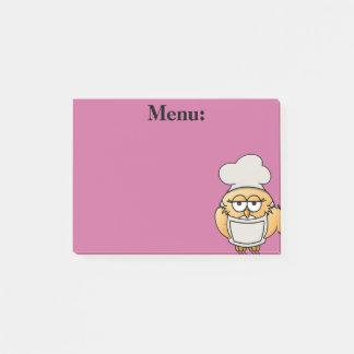 Nota de post-it linda del rosa del menú del