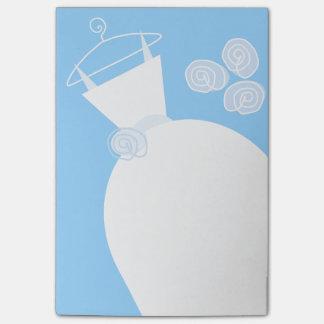 Nota de post-it vertical azul del vestido de boda