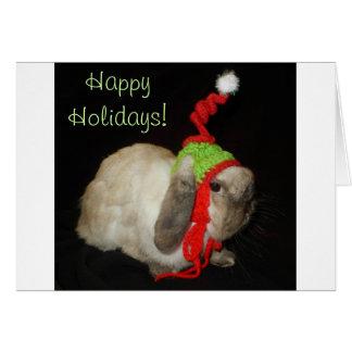 Nota en blanco del navidad del conejo de conejito tarjeta