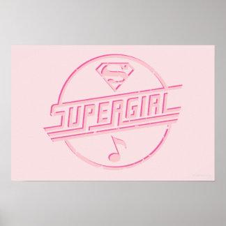 Nota rosada de la música de Supergirl Póster