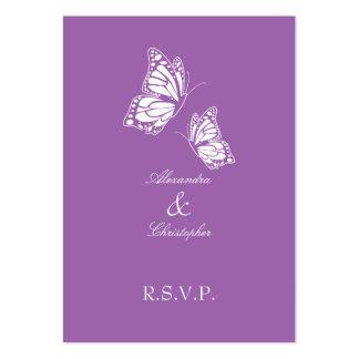 Nota violeta simple de RSVP de la mariposa mini Tarjetas De Visita Grandes
