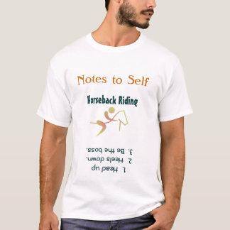 Notas a la camiseta de la equitación del uno mismo