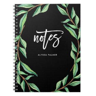 Notas botánicas oscuras del   cuaderno