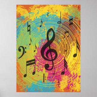 Notas brillantes de la música sobre la explosión d poster