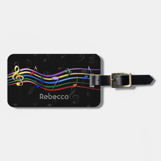 Notas coloreadas arco iris conocido personalizadas etiquetas para maletas