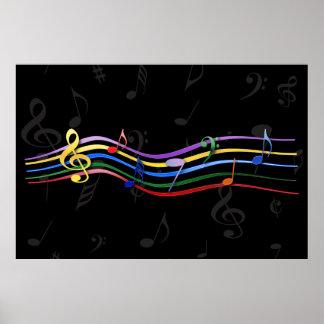 Notas coloreadas arco iris de la música póster