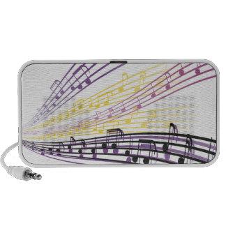 notas coloridas de la música altavoces