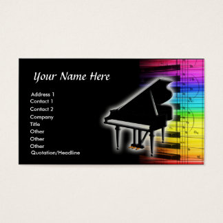 Notas coloridas del teclado y de la música de tarjeta de negocios