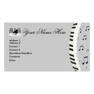 Notas de la música del teclado de piano tarjetas de visita