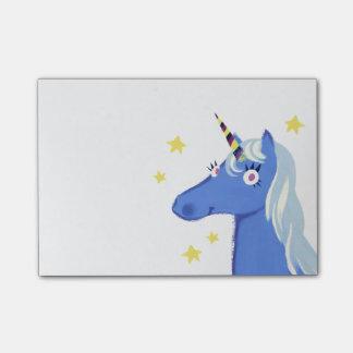 Notas de post-it azules del unicornio