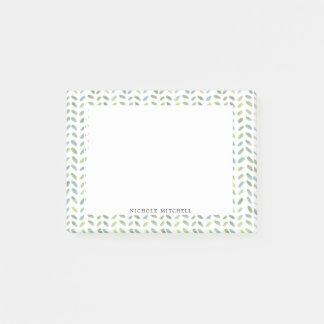 Notas de post-it azules y verdes de la acuarela de