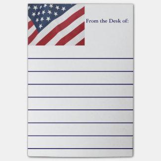 Notas de post-it de la bandera americana
