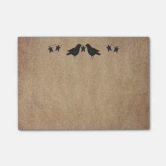 Notas de post-it de los cuervos y de las estrellas