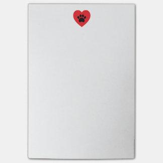 Notas de post-it del corazón 4x6 de la impresión