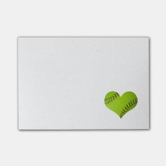 Notas de post-it del softball