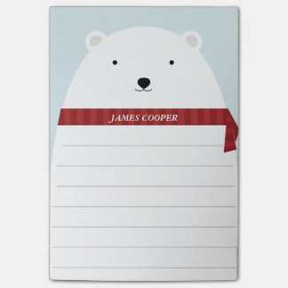 Notas de post-it dulces del oso polar