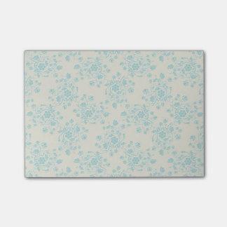 Notas de post-it florales azules