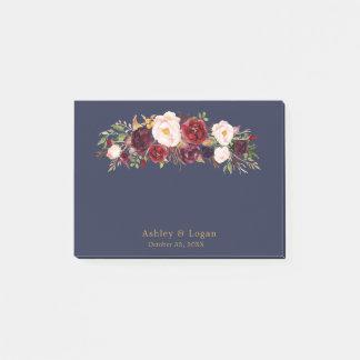 Notas de post-it florales elegantes del boda de la