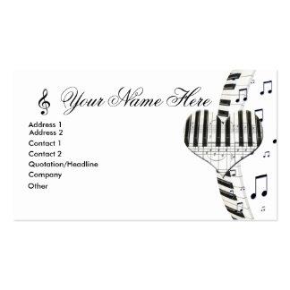 Notas del teclado y de la música de piano del cora tarjetas de visita