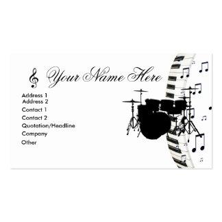 Notas determinadas del teclado y de la música de p tarjetas de visita
