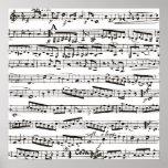 Notas musicales blancos y negros póster