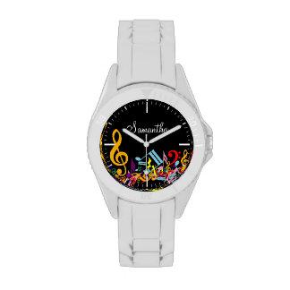 Notas musicales coloridas personalizadas relojes de pulsera