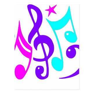 Notas musicales coloridas postal