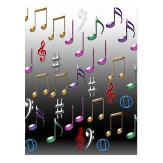 Notas musicales coloridas sobre fondo gris tarjeta postal
