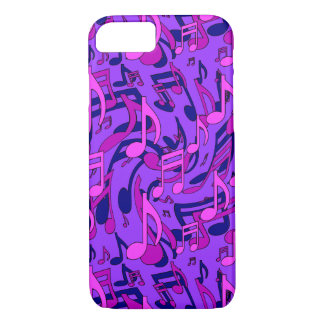 Notas musicales de la música del rosa púrpura del funda iPhone 7