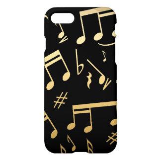 Notas musicales de oro sobre fondo negro funda para iPhone 7
