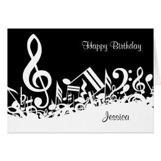 Notas musicales embarulladas blancas tarjeta de felicitación