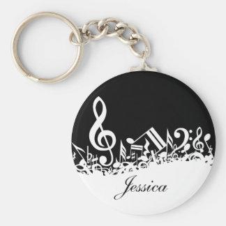 Notas musicales embarulladas personalizadas llavero personalizado