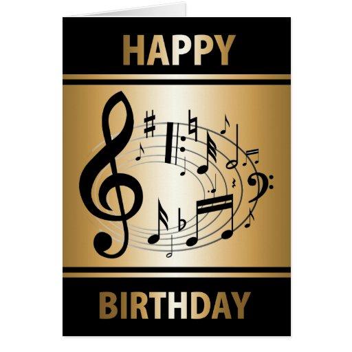 Notas musicales negras en forma oval en cumpleaños felicitacion ...