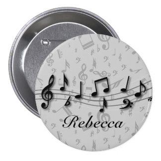 Notas musicales negras y grises personalizadas pin