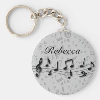 Notas musicales negras y grises personalizadas llavero personalizado